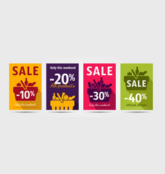 Set poster for grocery store advertising events vector