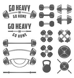 Set vintage gym equipment design elements vector