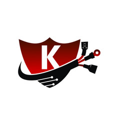 Shield global electricity letter k vector