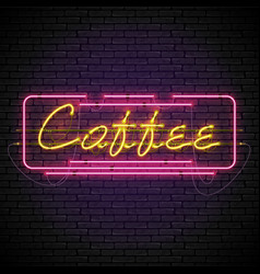 shining and glowing neon coffee sign in frame vector image