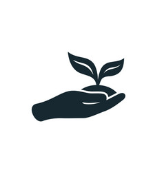 silhouette sprout in a hand sign of environmental vector image
