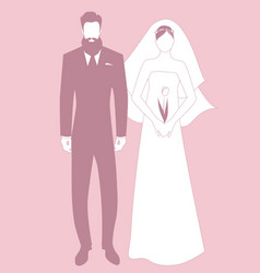 silhouettes newlyweds couple wearing wedding vector image