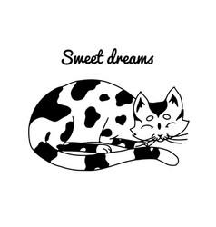 sleeping cat sweet dreams lovely pet hand drawn vector image