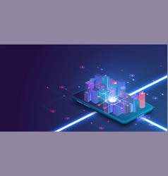 Smart city or intelligent building isometric vector