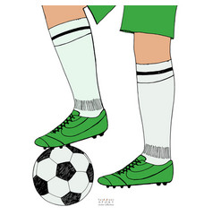 Soccer ball under player feet on white background vector