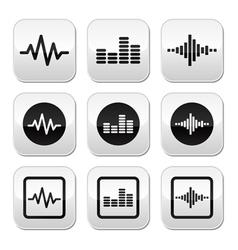 Soundwave music buttons set vector