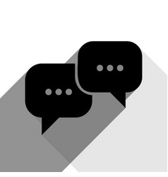 speech bubbles sign black icon with two vector image