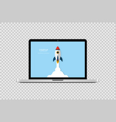 startup concept start up rocket in laptop vector image