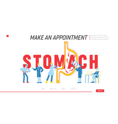 Stomach abdominal pain landing page template vector