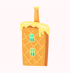 sweet home in biscuit with window and chimney pipe vector image