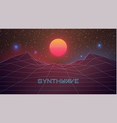Synthwave banner 80s retro futuristic background vector