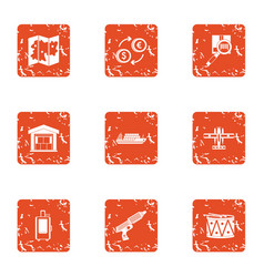 Tenancy icons set grunge style vector