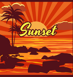 Tropical beautiful sunset landscape palms sea vector