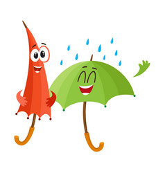 Two funny happy umbrella characters open and vector