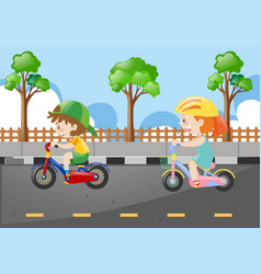 Two kids riding bicycle on the road vector