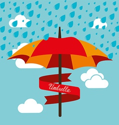Umbrella design over cloudscape background vector
