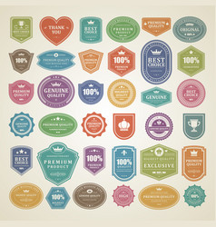 vintage labels and badges set vith retro vector image
