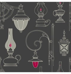 vintage lamp seamless pattern vector image