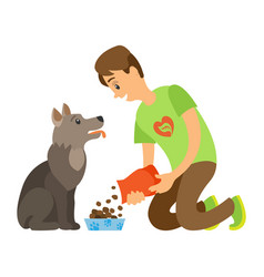 volunteer feeding homeless dog dry food vector image