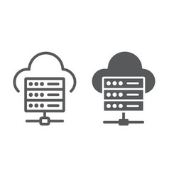 web hosting line and glyph icon data vector image