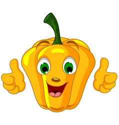 Yellow pepper character giving thumbs up vector