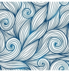 Blue doodle hair waves seamless pattern vector image vector image
