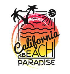 california beach paradise print for t-shirt vector image