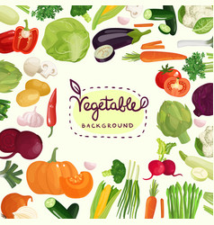 colorful vegetables background vector image vector image