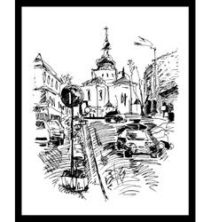 drawing of Kyiv street Podol Ukraine vector image vector image