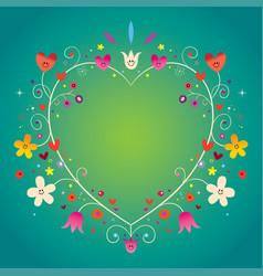 heart shaped ornamental decorative romantic frame vector image