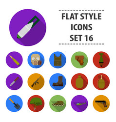military and army set icons in flat style big vector image vector image