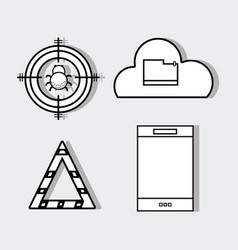 Set smartphone with technology elements icons vector