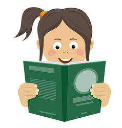 teenager girl reading interesting book vector image