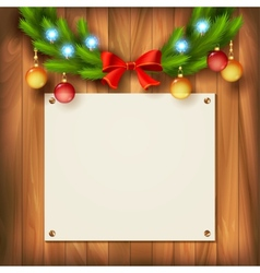 Christmas garland on wooden wall vector image