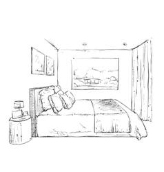 Hand drawn bedroom interior sketch vector image vector image