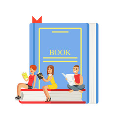 micro young women and man sitting on a giant book vector image