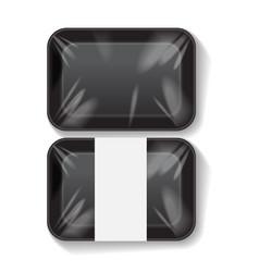 set of black rectangle blank styrofoam plastic vector image