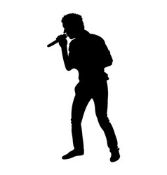 silhouettes of showman singer with microphone vector image