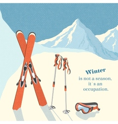Ski winter mountain landscape background vector image vector image