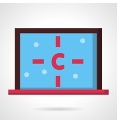 Computer with carbon atom flat design icon vector image vector image