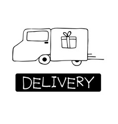 hand drawn cargo truck doodle delivery concept vector image vector image
