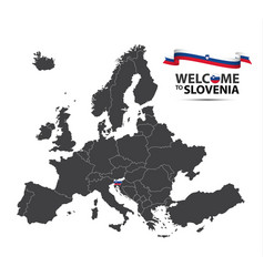 map of europe with the state of slovenia vector image