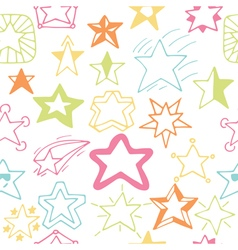Seamless pattern with hand drawn stars Sketchy vector image