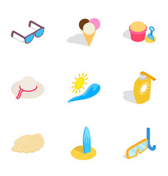 vacation icons isometric 3d style vector image vector image