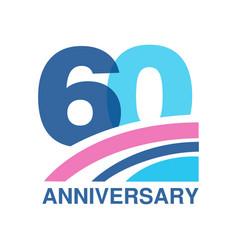 60th anniversary colored logo design happy vector image vector image