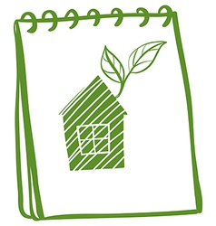 A notebook with a drawing of a house with leaves vector image vector image