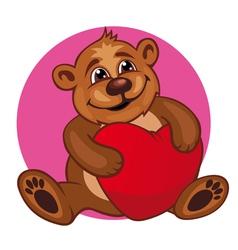 Cartoon bear toy with heart vector image