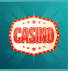 casino banner retro light frame with glowing lamps vector image vector image