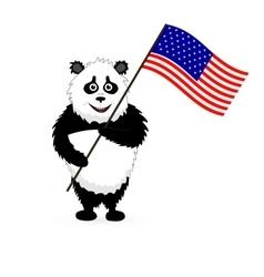 Cute Panda Holding USA Flag vector image vector image