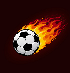 fire flying football ball for soccer poster vector image